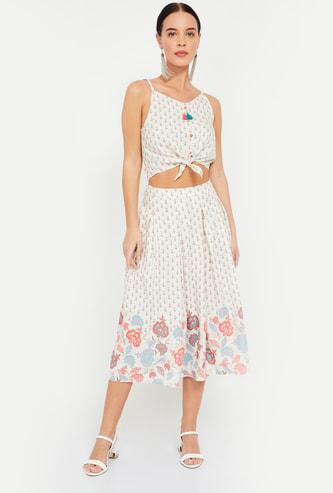 GLOBAL DESI Printed Midi Skirt with Crop Top