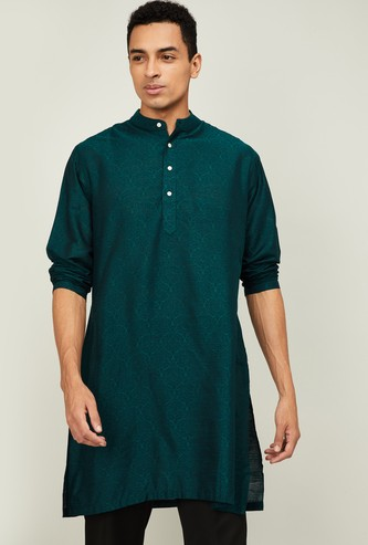 MELANGE Men Jacquard Pattern Straight Kurta