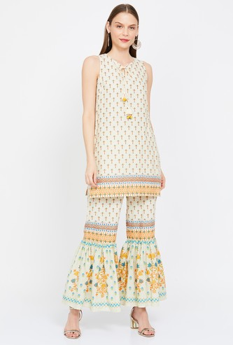 GLOBAL DESI Printed Sleeveless Kurti with Sharara Pants