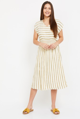VERO MODA Women Striped Cap Sleeves Dress