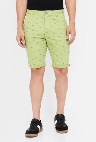 T-BASE Printed Slim Fit City Shorts