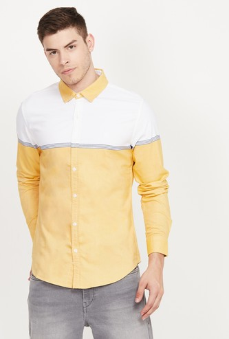 UNITED COLORS OF BENETTON Colourblocked Slim Fit Casual Shirt