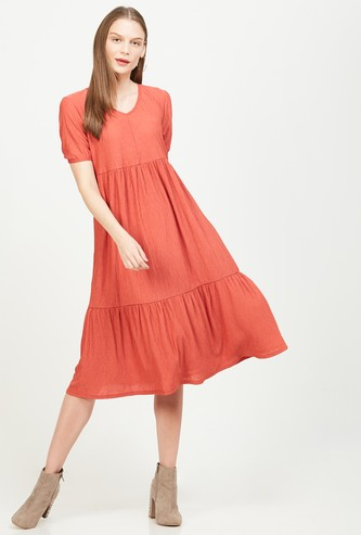 VERO MODA Solid Short Sleeves A-line Dress