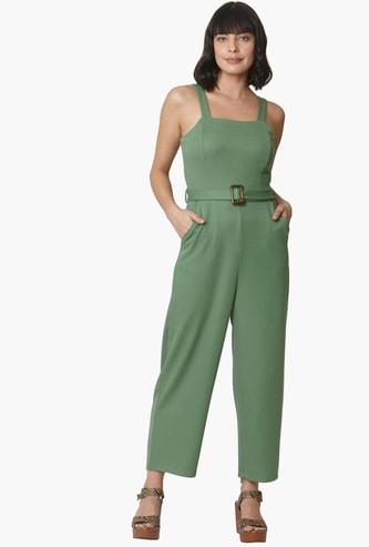 VERO MODA Solid Sleeveless Jumpsuit with Belt