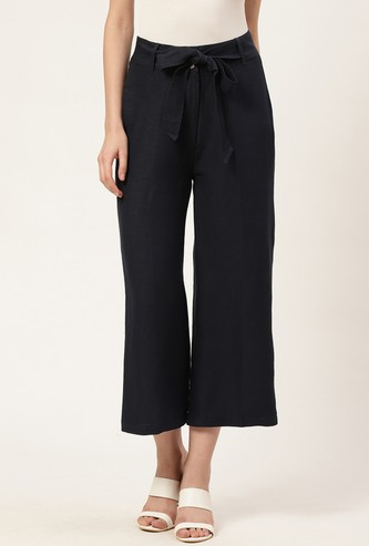 COVER STORY Women Cropped Straight Pants with Tie-Up Belt