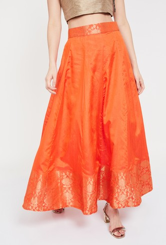 DE MOZA Solid Zari Detailed A-line Skirt