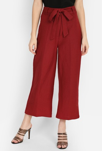 COVER STORY Solid Cropped Straight Pants