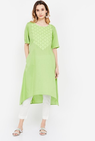 SPAN Embroidered High-Low A-line Kurta