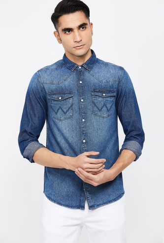 WRANGLER Solid Denim Shirt
