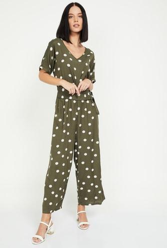 VERO MODA Women Polka-Dot Print V-neck Jumpsuit