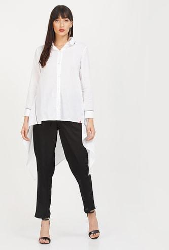 BIBA Solid High-Low Shirt Tunic
