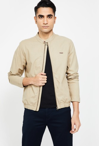 T-BASE Solid Zip-Front Casual Jacket