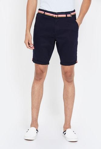 T-BASE Men  Solid Slim Fit City Shorts