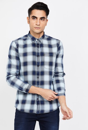VOI JEANS Checked Slim Fit Casual Shirt