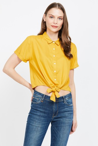 MS.TAKEN Solid Shirt with Tie-Up Hem