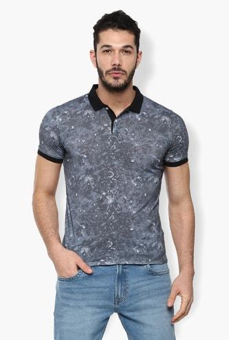 V DOT Printed Slim Fit Polo T-shirt
