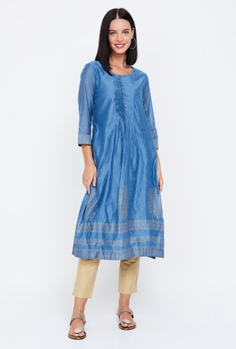 BIBA Printed Straight Kurta with Button Placket