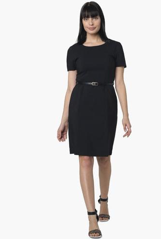 VERO MODA Solid Sheath Dress with Detachable Belt