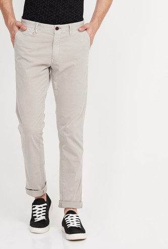 INDIAN TERRAIN Solid Slim Straight Chinos