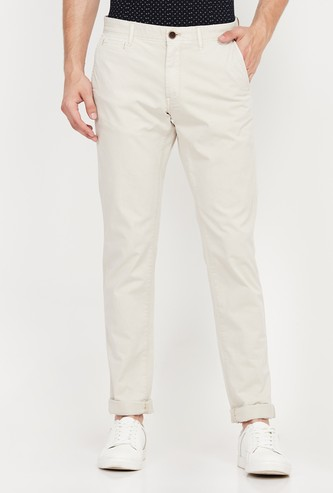 INDIAN TERRAIN Solid Slim Straight Fit Casual Trousers