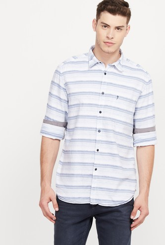 INDIAN TERRAIN Striped Full Sleeves Slim Fit Casual Shirt