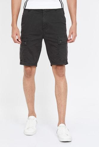 T-BASE Men Solid Regular Fit Cargo Shorts