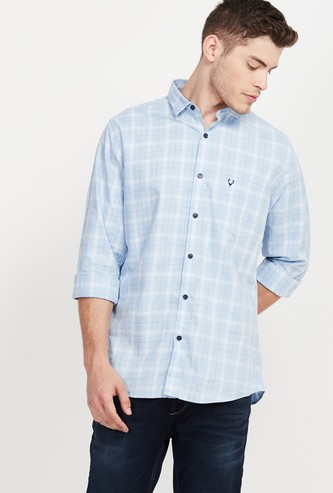 ALLEN SOLLY Checked Slim Fit Smart Casual Shirt
