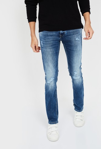 FLYING MACHINE Michael Mid-Washed Slim Tapered Distressed Jeans