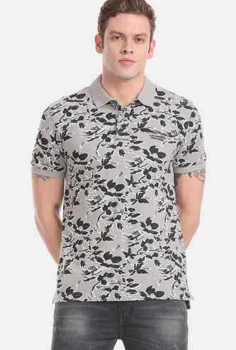 ED HARDY Floral Print Slim Fit Polo T-shirt