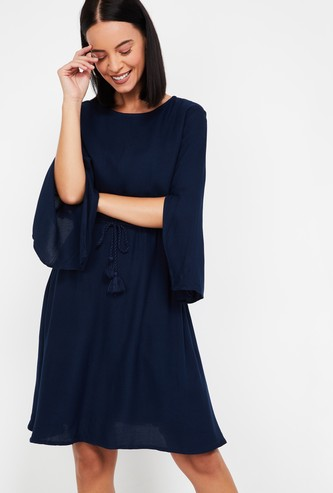 AND Solid Eco-Vero Fit & Flare Dress with Cape Sleeves