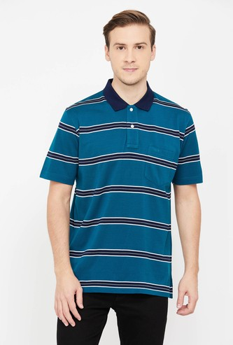 COLOURPLUS Men Striped Regular Fit Polo T-shirt