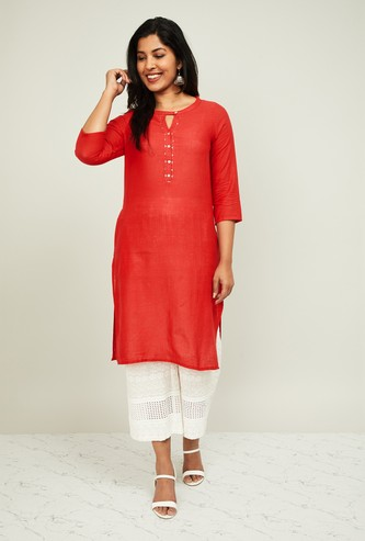 MELANGE Women Solid Straight Kurta