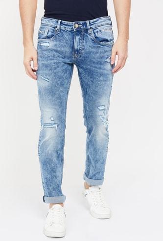 ROOKIES Men Distressed Skinny Fit Jeans