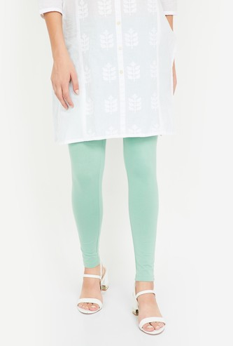 W Solid Leggings with Elasticated Waistband