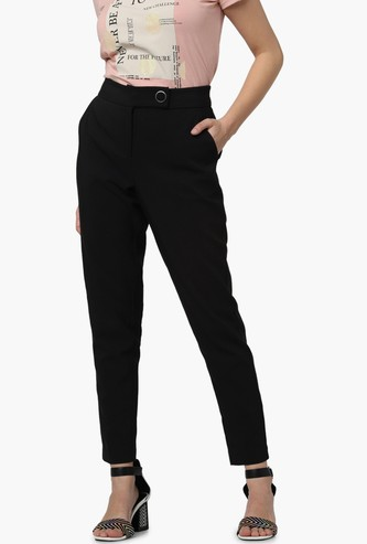 VERO MODA Solid Slim Fit Ankle-Length Trousers