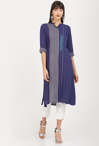 NEERUS Striped Straight Kurta with Concealed Button Placket
