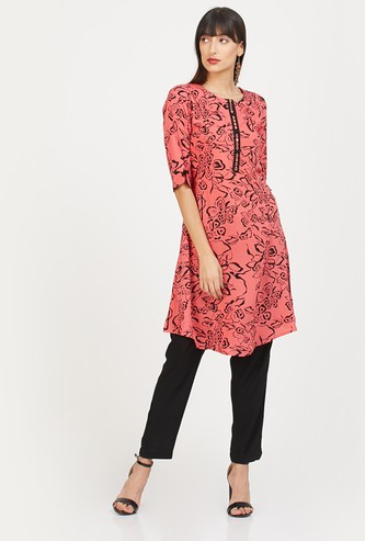 NEERUS Floral Print Tunic with Mirror Work