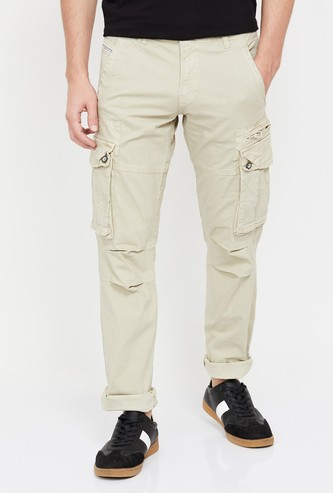 ROOKIES Men Solid Slim Tapered Casual Cargo Trousers