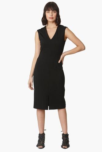 VERO MODA Solid V-neck Sleeveless Sheath Dress