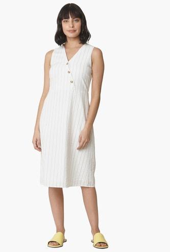 VERO MODA Surplice Neck Striped A-line Dress