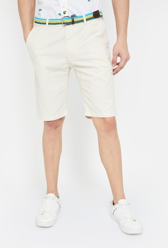 INIDIAN TERRAIN Solid Slim Fit Shorts with Belt