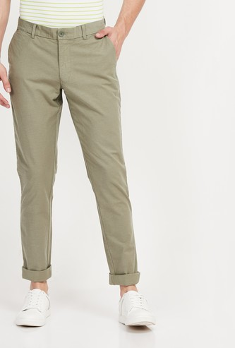 INDIAN TERRAIN Solid Super Slim Fit Casual Trousers