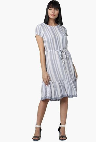 VERO MODA Striped A-line Dress with Lace Trim