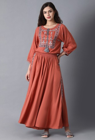 W Embroidered Ethnic Top and Skirt Set