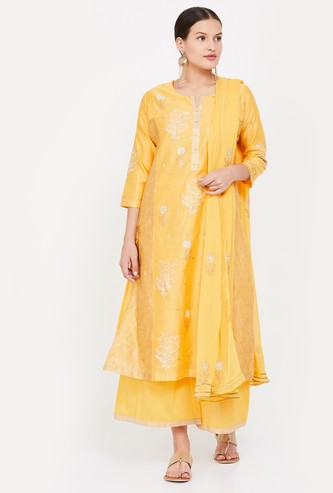BIBA Printed Straight Kurta with Palazzo Pants and Dupatta