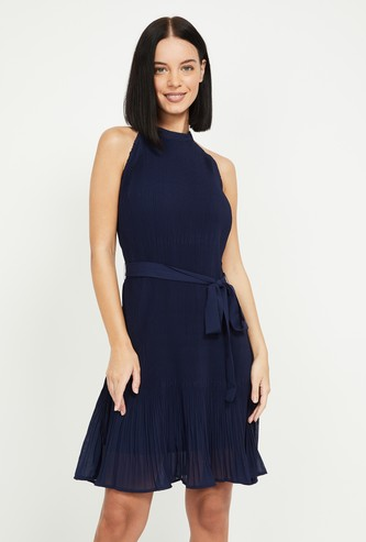 MS. TAKEN Women Textured Fit & Flare Dress with Cutaway Neck