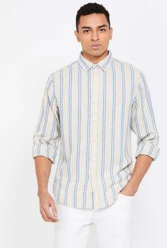 UNITED COLORS OF BENETTON Striped Full Sleeves Slim Fit Shirt