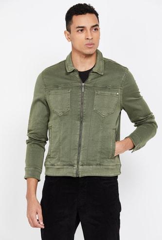 LP JEANS Men Solid Zip-Front Denim Jacket