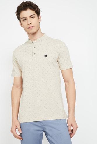 ARROW SPORTS Printed Regular Fit Mandarin Collar T-shirt
