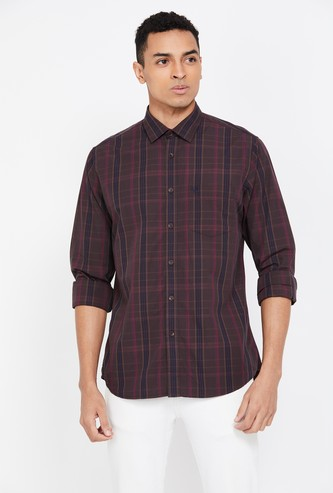 ALLEN SOLLY Men's Checked Slim Fit Casual Shirt